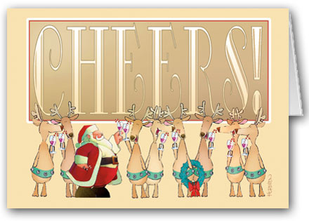 Personalized boxed Cheers! Toasting Christmas Card