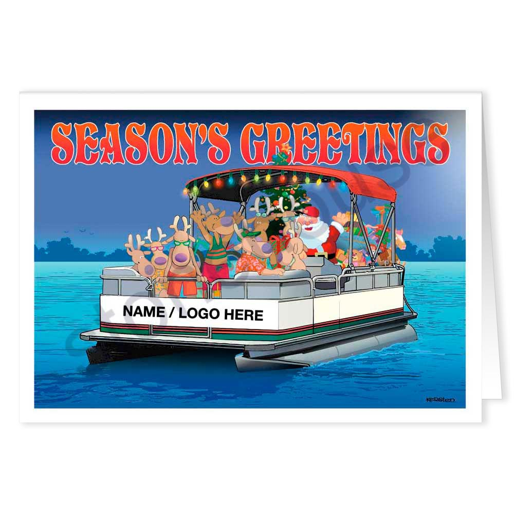 Party Boat Name Christmas Card: Stonehouse Collection