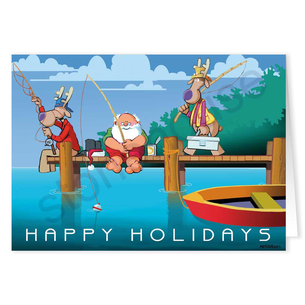 Stonehouse collection dock fishing christmas card