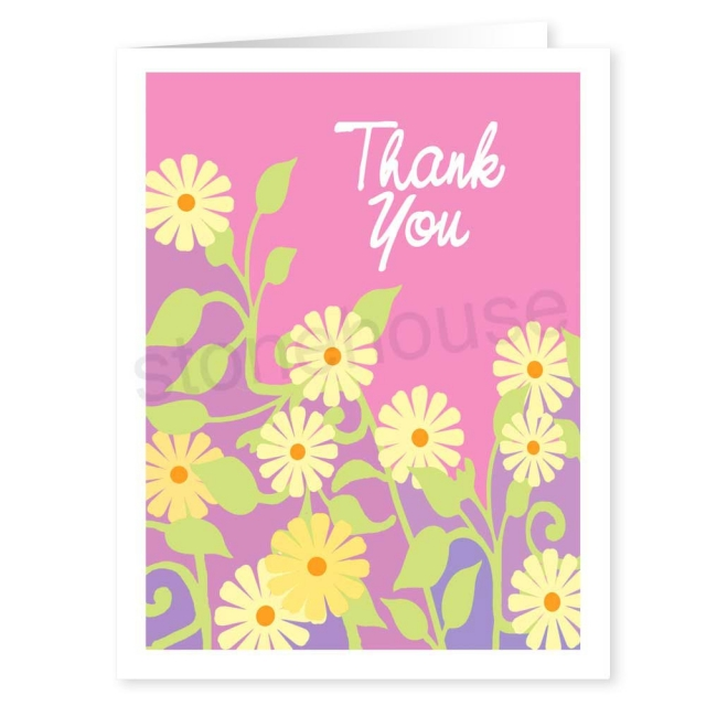 contemporary flowers thank you note
