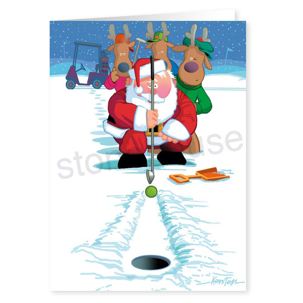 Snow Putting Holiday Card Stonehouse Collection - Golf christmas cards