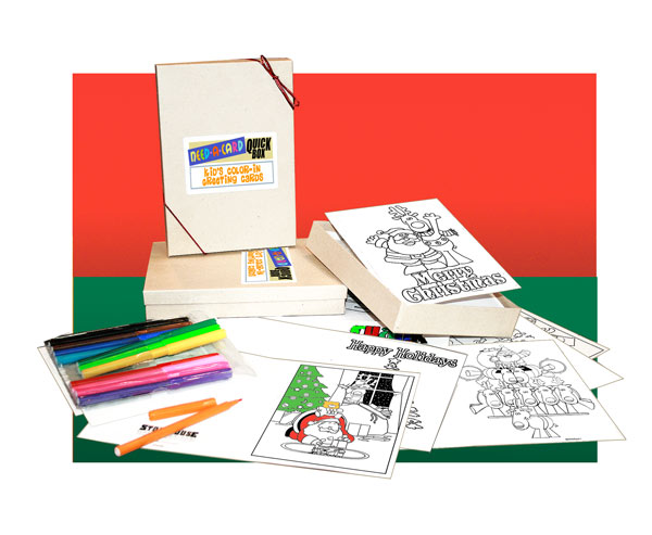 kids christmas coloring greeting cards