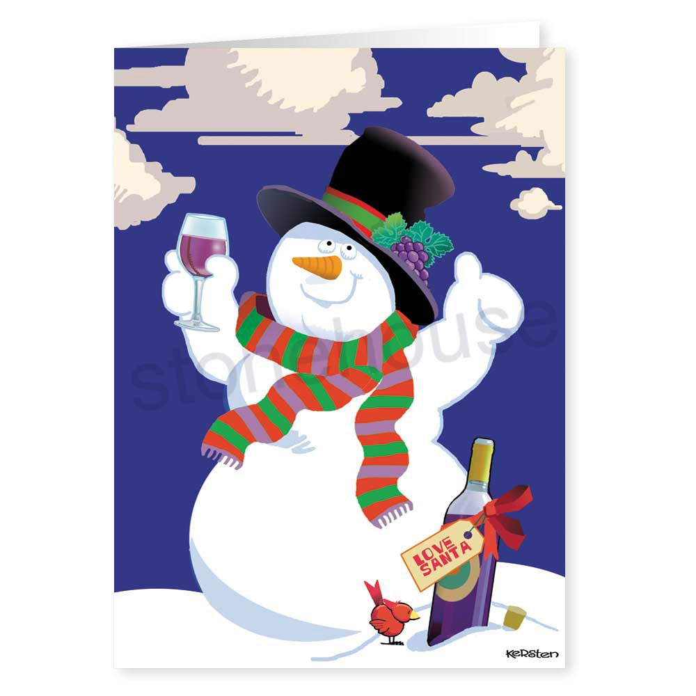 Stonehouse collection snowman wine cheer holiday card